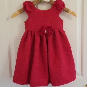 Red brocade special occasion dress